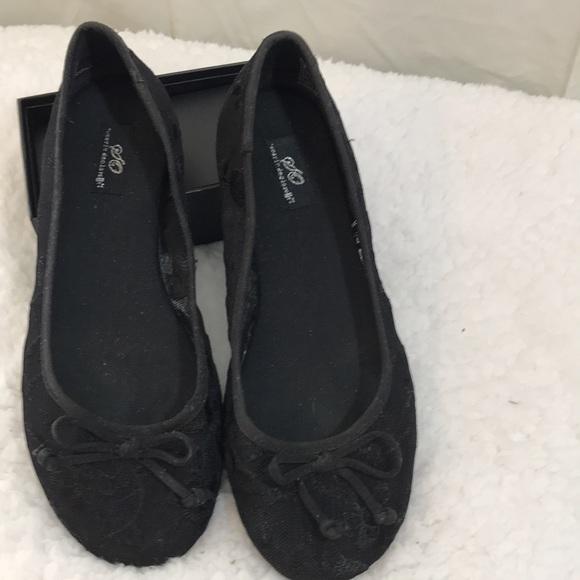 Black Lacy Ballet Flats, Size 7M